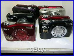 A LOT of 8 Nikon Coolpix Cams FAULTY BROKEN AS-IS PARTS REPAIR