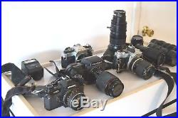 Large Lot Vintage Film Cameras and Lens- Nikon Canon Pentax Parts or Repair