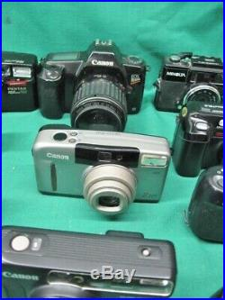 Lot of 25 Mostly 35mm Cameras for Parts or Repair Nikon, Pentax, Canon, Olympus