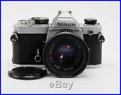 NIKON FM 35mm FILM SLR CAMERA WITH 50mm F/1.8 LENS FOR PARTS/REPAIR
