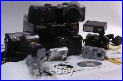 Nice Lot of 7 Digital Cameras NIKON CANON SONY & More Untested For Parts/Repair