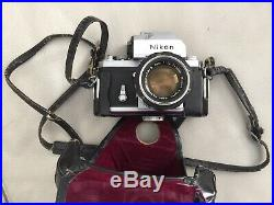 Nikon F SLR 35mm Camera and 1.4 Lens With Leather Case For Parts Or Repair