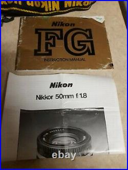 Nikon FG 35mm Film Camera Silver Body With Lens Untested For Parts / Repair