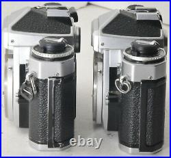 Two Nikon FE 35mm camera bodies for parts and repair, with Different Problems