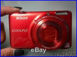 Used & Untested Nikon CoolPix S6500 Digital Camera (Red) For Parts or Repair